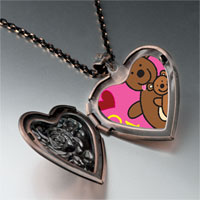 Necklace & Pendants - teddy bear dad heart locket pendant necklace Image.