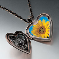 Necklace & Pendants - happy sunflower photo heart locket pendant necklace Image.