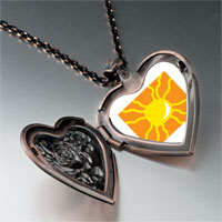 Necklace & Pendants - bright yellow sun heart locket pendant necklace Image.