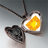 Necklace & Pendants - bright yellow sun heart locket pendant necklace Image.