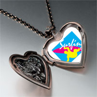 Necklace & Pendants - guy surfing yellow heart locket pendant necklace Image.