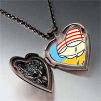 Necklace & Pendants - beach umbrella photo heart locket pendant necklace Image.