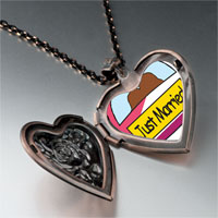 Necklace & Pendants - just married couple heart locket pendant necklace Image.