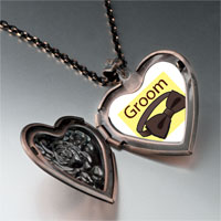 Necklace & Pendants - groom bow tie heart locket pendant necklace Image.