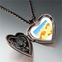 Necklace & Pendants - footprints sand heart locket pendant necklace Image.