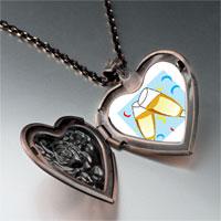 Necklace & Pendants - champagne celebration party heart locket pendant necklace Image.