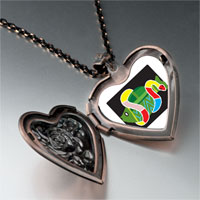 Necklace & Pendants - multicolored snake around fish heart locket pendant necklace Image.