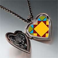 Necklace & Pendants - quiltwork patch heart locket pendant necklace Image.