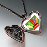 Necklace & Pendants - colorful feathers heart locket pendant necklace Image.