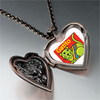 Necklace & Pendants - green colorful cat gatito heart locket pendant necklace Image.