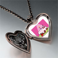 Necklace & Pendants - birthday cake in spotlight heart locket pendant necklace Image.