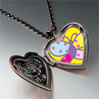 Necklace & Pendants - colorful bright butterfly heart locket pendant necklace Image.