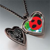 Necklace & Pendants - curious ladybug heart locket pendant necklace Image.