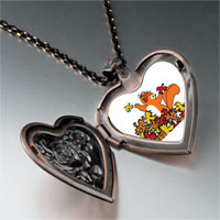 Necklace & Pendants - fall squirrel fun heart locket pendant necklace Image.