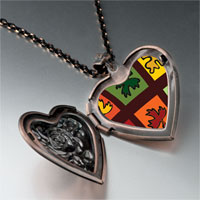 Necklace & Pendants - multicolored autumn leaves heart locket pendant necklace Image.