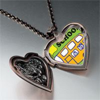 Necklace & Pendants - fun school bus heart locket pendant necklace Image.