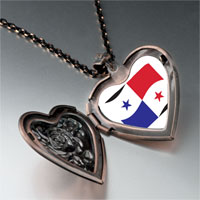 Necklace & Pendants - panama flag heart locket pendant necklace Image.