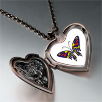 Necklace & Pendants - blue red &  yellow butterfly heart locket pendant necklace Image.
