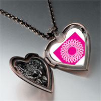 Necklace & Pendants - circle pink ribbons heart locket pendant necklace Image.