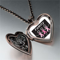 Necklace & Pendants - family pink ribbon heart locket pendant necklace Image.