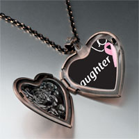 Necklace & Pendants - daughter support pink ribbon heart locket pendant necklace Image.