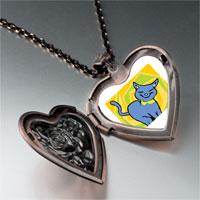Necklace & Pendants - russian blue cat heart locket pendant necklace Image.