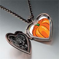 Necklace & Pendants - jack o lantern halloween pumpkin love heart and rose pendant Image.