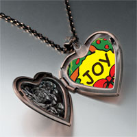 Necklace & Pendants - joy christmas wreath heart locket pendant necklace Image.