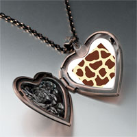 Necklace & Pendants - giraffe skin heart locket pendant necklace Image.