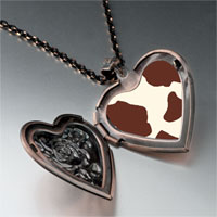 Necklace & Pendants - brown cow skin heart locket pendant necklace Image.