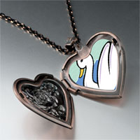 Necklace & Pendants - swans swimming photo storybook heart locket pendant necklace Image.