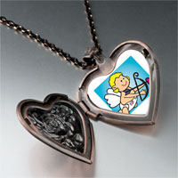 Necklace & Pendants - baby cupid angel heart locket pendant necklace Image.