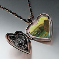 Necklace & Pendants - wheatstacks painting heart locket pendant necklace Image.