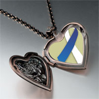 Necklace & Pendants - blue white ribbon awareness heart locket pendant necklace Image.