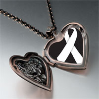 Necklace & Pendants - white ribbon awareness heart locket pendant necklace Image.