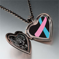 Necklace & Pendants - pink blue ribbon awareness heart locket pendant necklace Image.