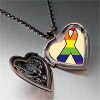 Necklace & Pendants - rainbow ribbon awareness heart locket pendant necklace Image.