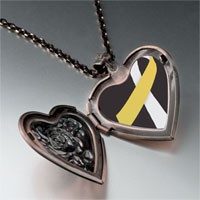 Necklace & Pendants - silver gold color ribbon awareness heart locket pendant necklace Image.