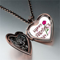 Necklace & Pendants - valentine' s day pink rose photo heart locket pendant necklace Image.