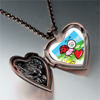 Necklace & Pendants - cartoon theme photo heart rose heart locket pendant little lady bug easter gifts for women necklace Image.