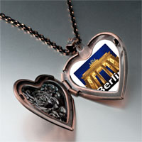 Items from KS - travel brandenburg gate photo heart locket pendant necklace Image.