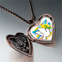 Items from KS - religion peace earth photo heart locket pendant necklace Image.