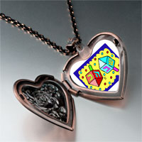 Items from KS - religion dreidl photo heart locket pendant necklace Image.