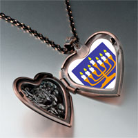Items from KS - religion menorah photo heart locket pendant necklace Image.