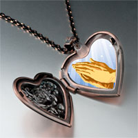 Necklace & Pendants - religion praying hands photo heart locket pendant necklace Image.