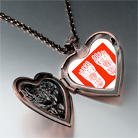 Necklace & Pendants - religion buddhism footprint photo heart locket pendant necklace Image.