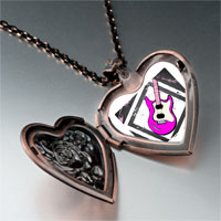 Necklace & Pendants - music theme pink electric guitar photo heart locket pendant necklace Image.