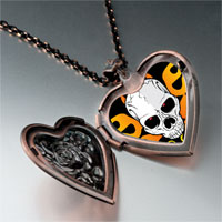 Necklace & Pendants - music theme horror halloween skull photo heart locket pendant necklace Image.