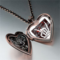 Necklace & Pendants - music theme horror halloween skull sign photo heart locket pendant necklace Image.