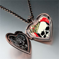 Necklace & Pendants - music theme halloween skull blood photo heart locket pendant necklace Image.